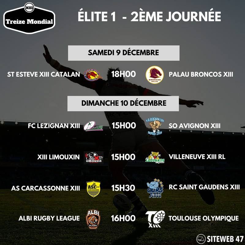 Elite 1 - Programme 2ème journée