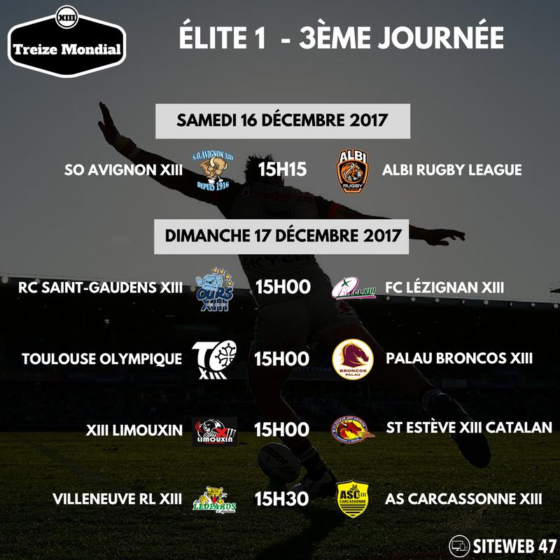 Elite 1 - Programme 3ème journée