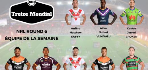 NRL 2018 L'équipe type de la 6ème journée