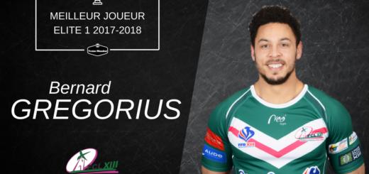 Bernard Gregorius meilleur joueur Elite 1 2017-2018