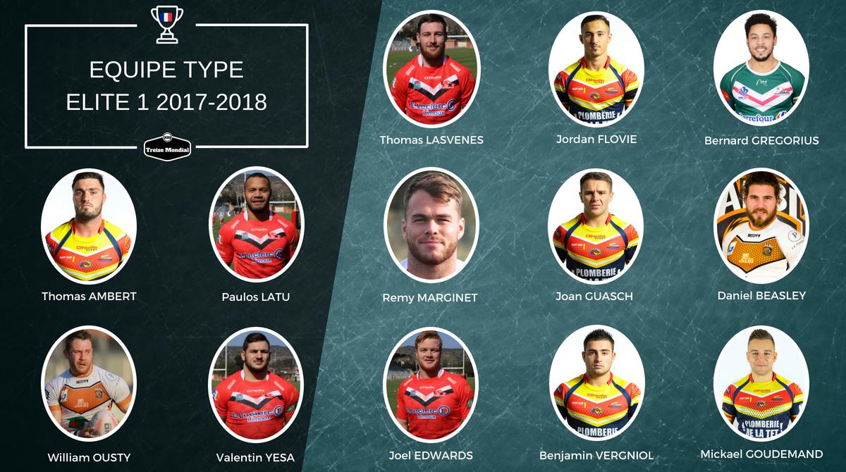 Le XIII type d'Elite 1 saison 2017-2018