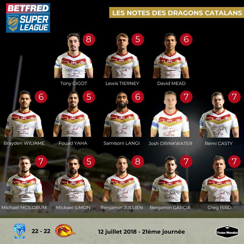 Notes XIII Dragons Catalans Warrington J21