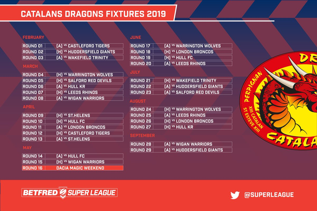 Calendrier Des Andrews.Super League 2019 Le Calendrier Complet Des Dragons